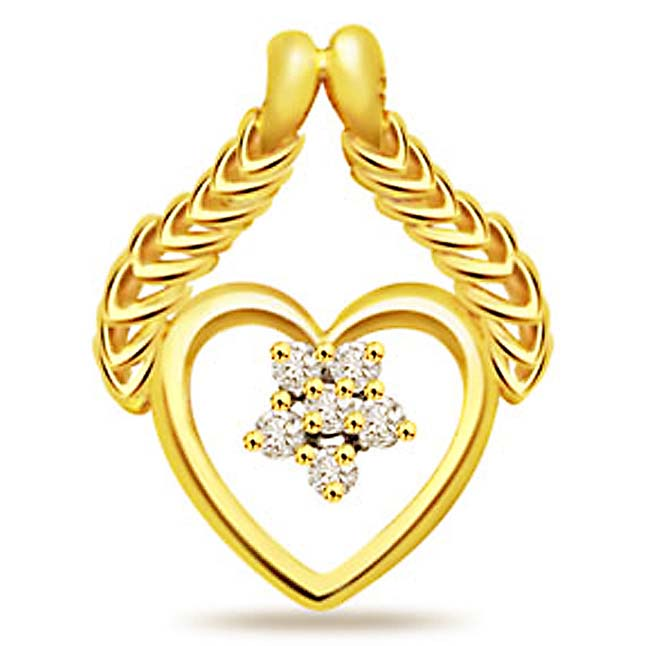 A Heart to Flatter 0.06ct Diamond Yellow Gold Pendants