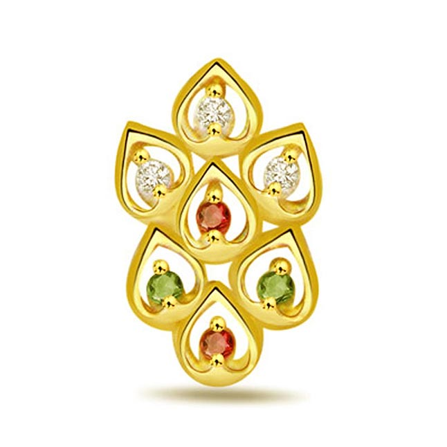 Leaves of Desire Fancy Diamond ,Ruby & Emerald Pendants -Designer Pendants