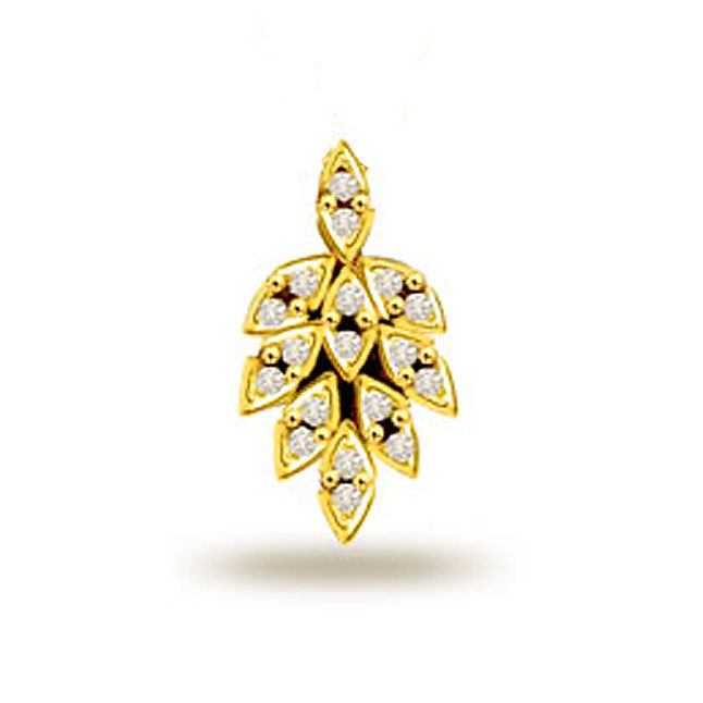 Leafy Diamond Passion 0.18ct Gold Pendants -Designer Pendants