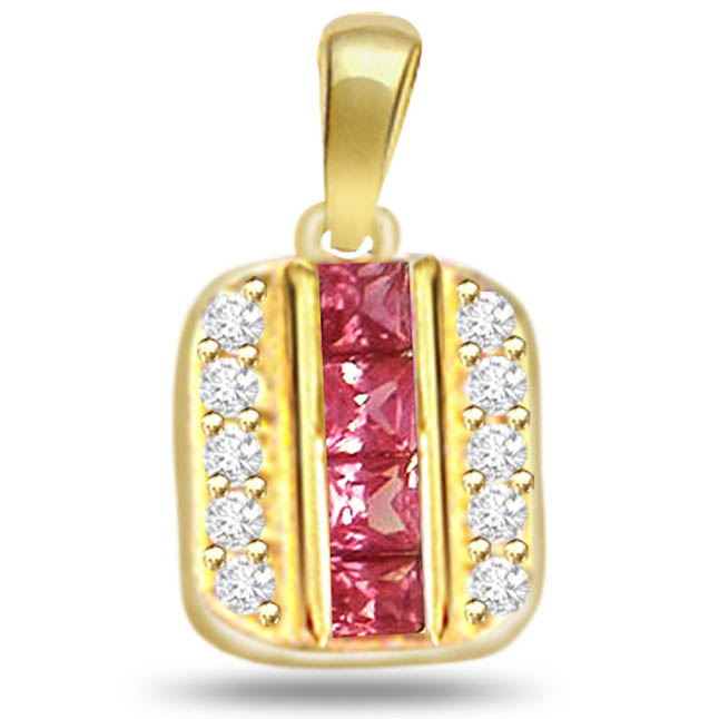 Enchanted by Ruby 0.20ct Diamond Pendants -Diamond -Ruby