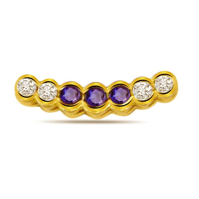 Sapphire Desire -0.08ct Diamond & Sapphire Gold Pendants