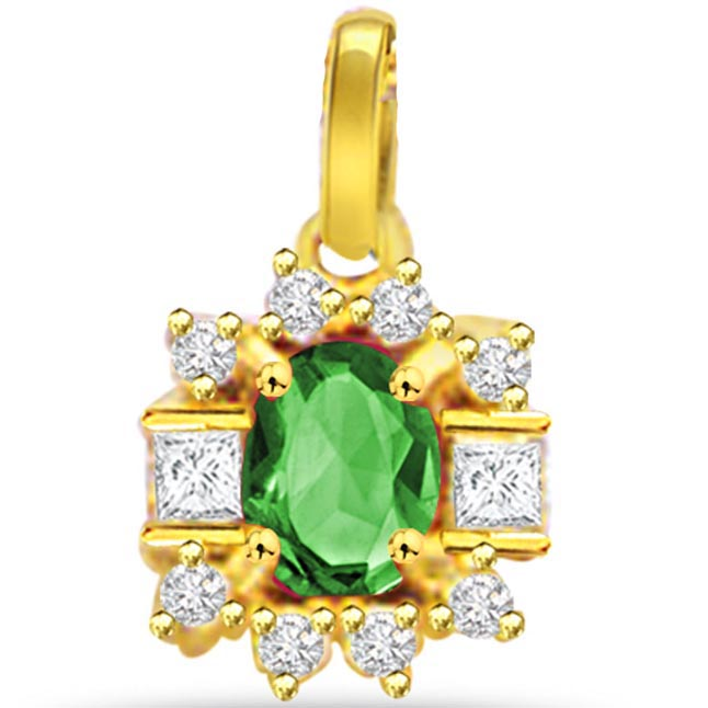 Evergreen Love -0.20ct Diamond & Emerald Gold Pendants