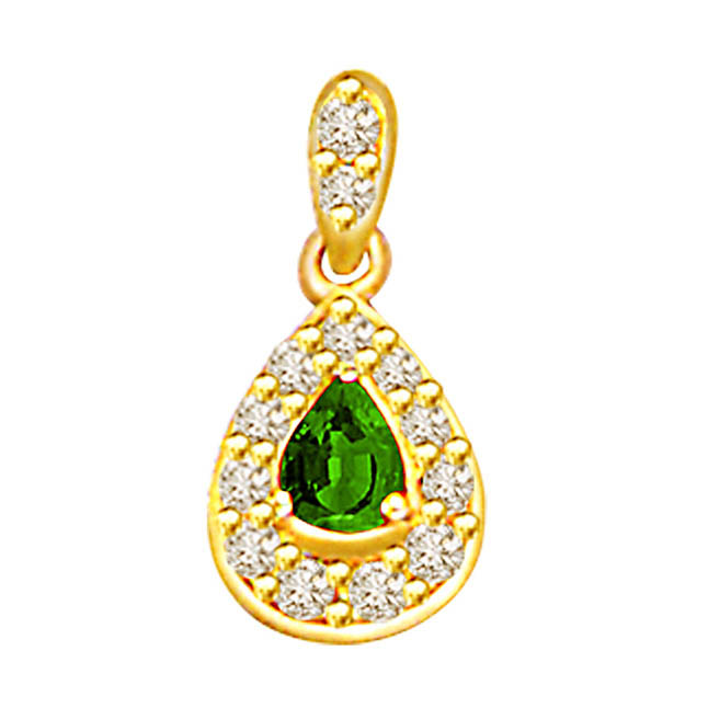 0.26ct Diamond & Emerald Gold Pendants