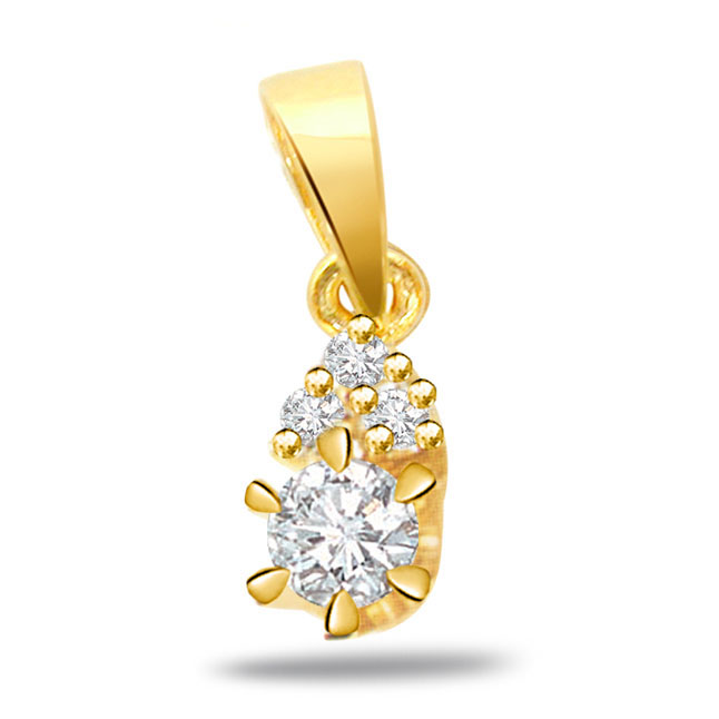 Golden Sunshine Beauty -0.35ct VS Clarity Diamond Gold Pendants -Designer Pendants