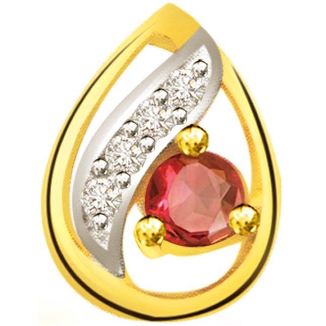 Drop of Ruby Affection -0.25ct Diamond & Ruby Pendants -Diamond -Ruby