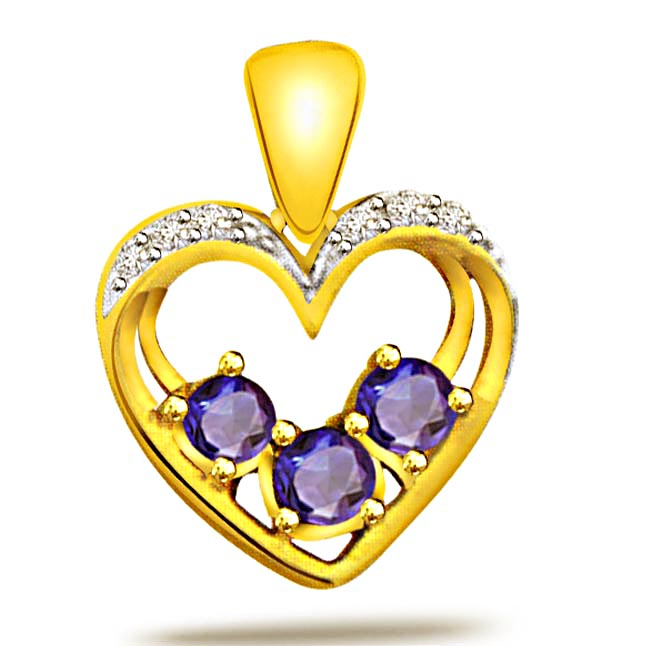 Heart Sparkle -0.09ct Diamond & Lustrous Sapphire Gold Pendants