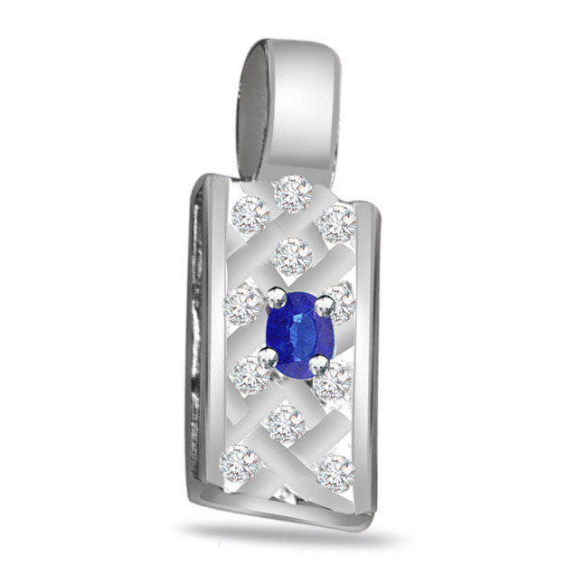 Blue Blossom -0.16ct Diamond & Sapphire 14kt Gold Pendants