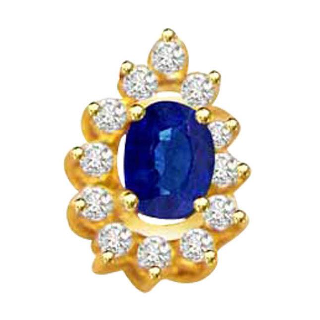 Blue Ocean -0.10ct Diamond & Sapphire 18kt Gold Pendants