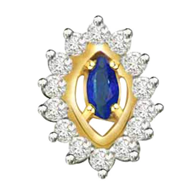 Sauve Sapphire Delight -0.20ct Diamond & Sapphire 18kt Gold Pendants