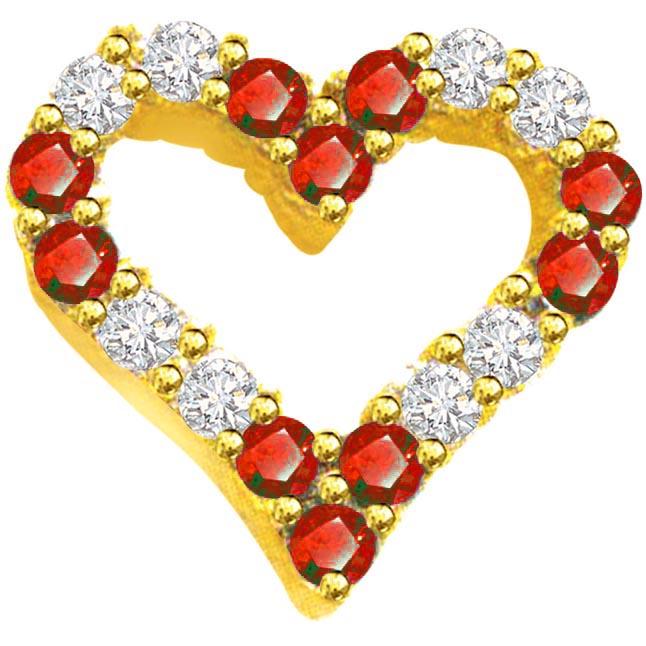 0.20ct Diamond & Ruby Heart Shape Pendants