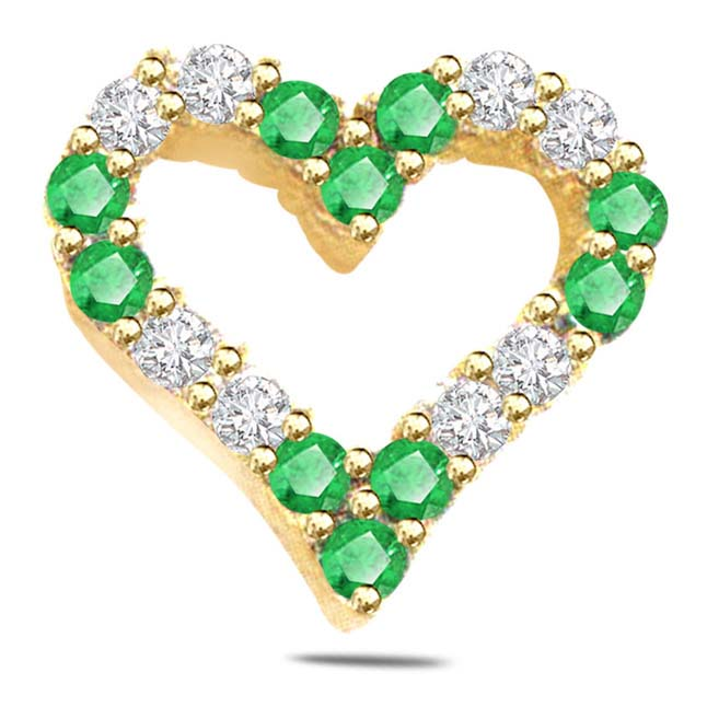 0.20ct Diamond & Emerald Heart Shape Pendants
