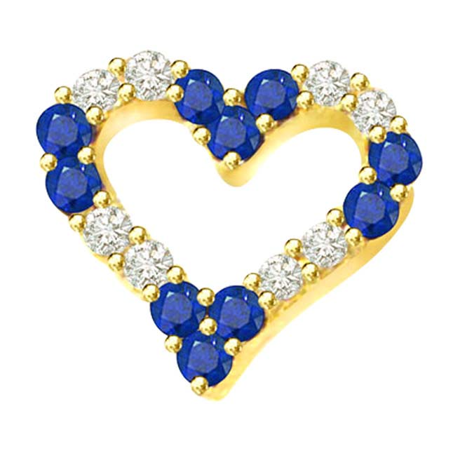 0.32ct Diamond & Sapphire Heart ShapePendants