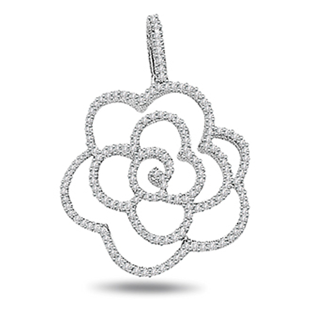 Flower Power -0.90 cts Diamond Pendants -White Gold