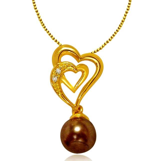 Heart Twins -Diamond & Gold Heart Pendants