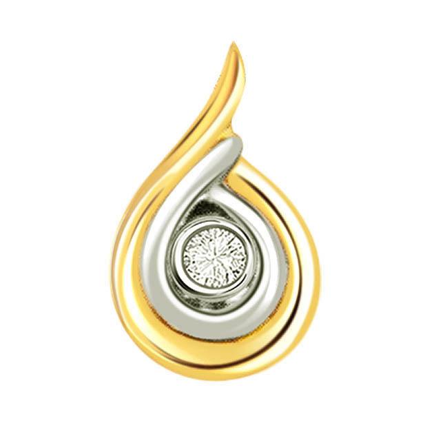Diamond Dew Drop -0.15 cts Two Tone Solitaire Diamond Pendants -Solitaire