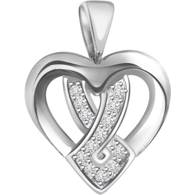0.07 cts Diamond 14KT Pendants -White Gold