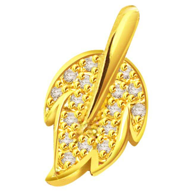 0.24 cts 18K Gold Leaf Diamond Pendants -Designer Pendants