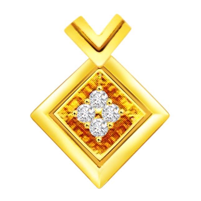 Squared Away -0.08 cts Geometric Shape Diamond Pendants -Designer Pendants