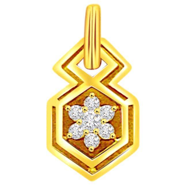 0.15 cts Pentagon Shape Flower Diamond Pendants -Designer Pendants