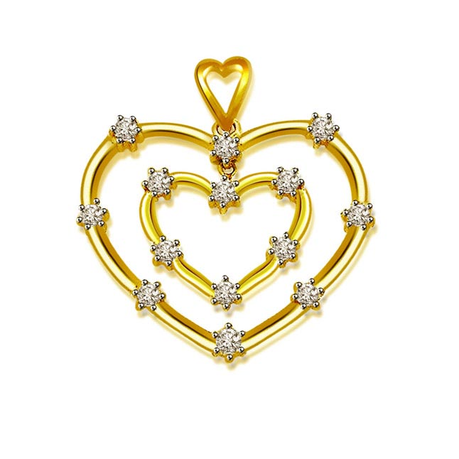 Star Struck Heart -0.28 cts Heart Design 18kt Gold Diamond Pendants