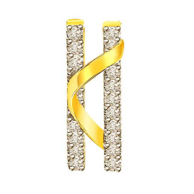 Twin Towers -0.18 cts Two Tone 18K Diamond Pendants -Teenage