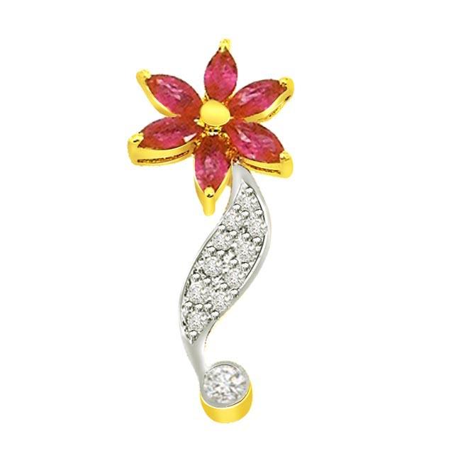 0.11 cts Diamond & Marq Ruby Flower Pendants -Diamond -Ruby