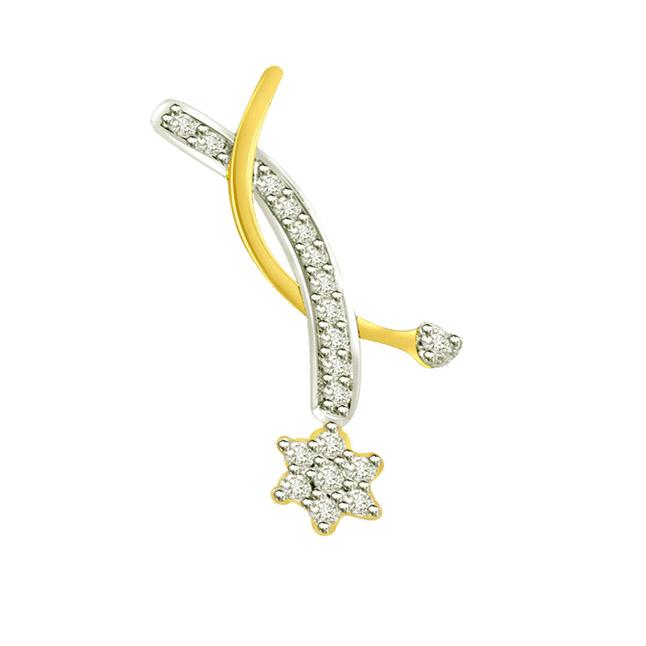 0.25 cts Flower Diamond 18K Pendants -Flower Shape Pendants