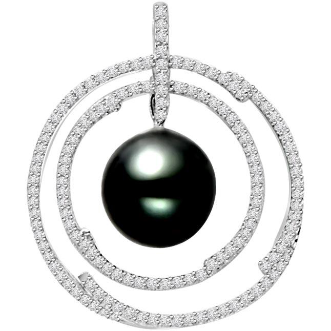 Hoops of Love -0.75 cts Diamond & Tahitian Pearl 14K Pendants -White Gold