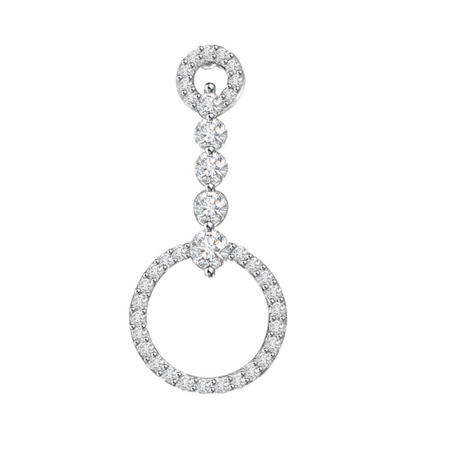 Hanging Hoop of Passion -0.45 cts 14K Gold Diamond Pendants -White Gold