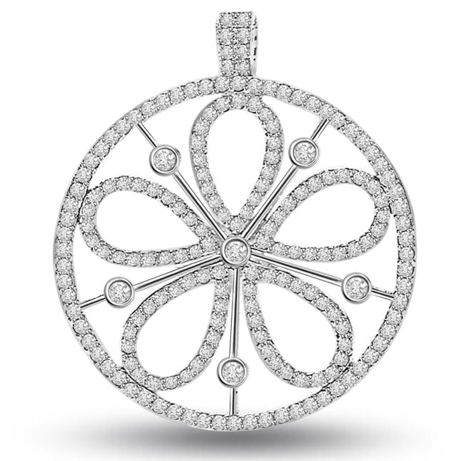 Petals of Desire -0.90 cts White 14K Flower Diamond Pendants -White Gold
