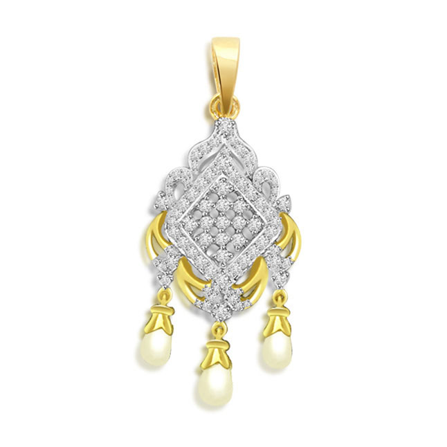 Pearly Ch elier Delight -0.35 cts Diamond & Drop Pearl 18K Pendants -Designer Pendants