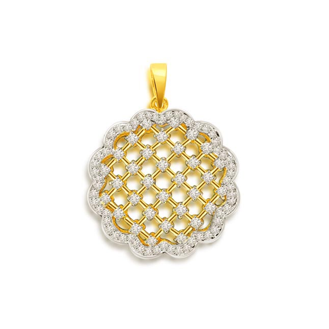 0.66 cts Two Tone Flower Diamond Pendants -Flower Shape Pendants