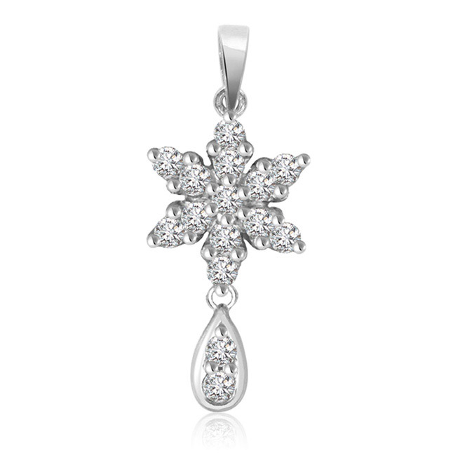 Passionate Floral Drop -0.30cts White 14K Flower Diamond Pendants -White Gold