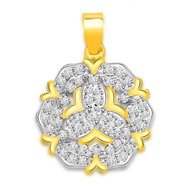 0.75 cts Two Tone 18K Flower Diamond Pendants -Flower Shape Pendants