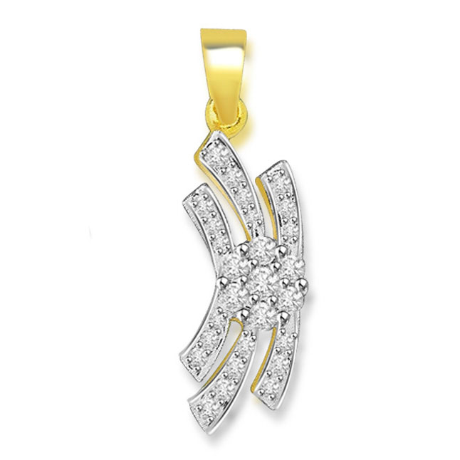 0.30 cts Two Tone Flower Diamond 18K Pendants -Flower Shape Pendants