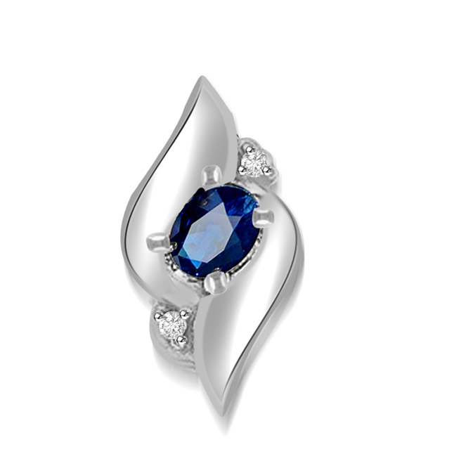 0.05 cts White Gold Diamond & Oval Sapphire Pendants -White Gold
