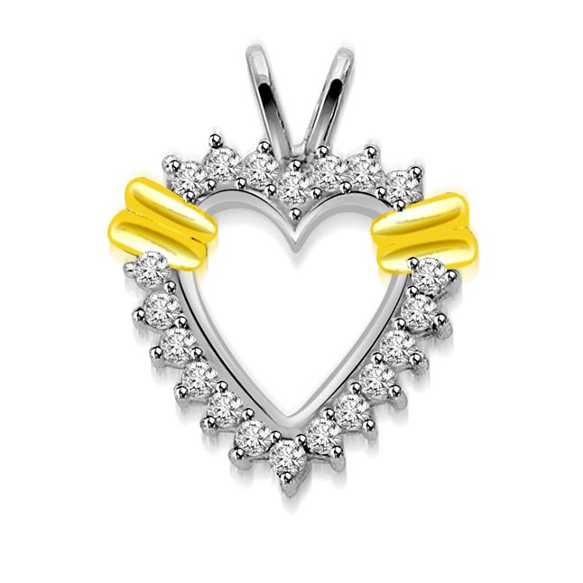 0.20 cts Designer Heart Diamond Pendants