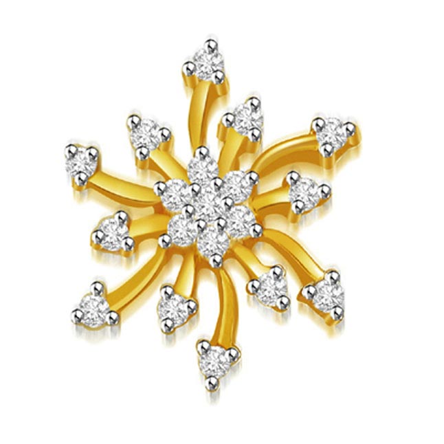 0.30 cts Sun Flower Diamond Pendants -Flower Shape Pendants