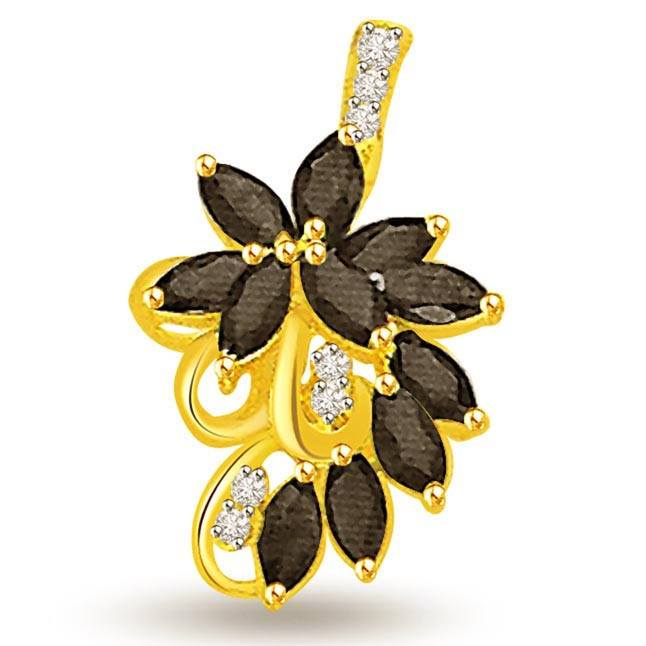 0.07 cts Diamond & Marq Sapphire Pendants 18K Gold Pendants
