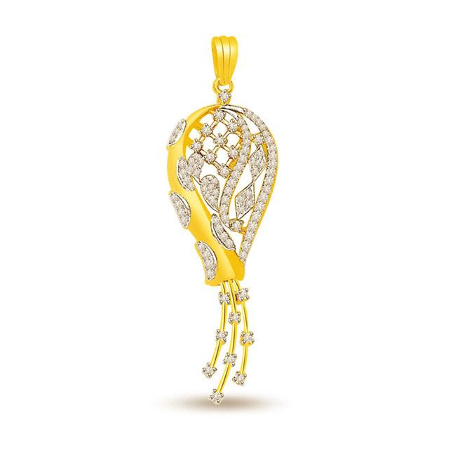 Stylish Senorita -0.40 cts Fancy Diamond Pendants In 18K Gold -Designer Pendants