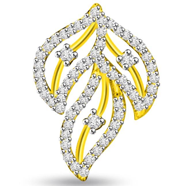 3 Leaves 0.70 cts Diamond Pendants -Designer Pendants