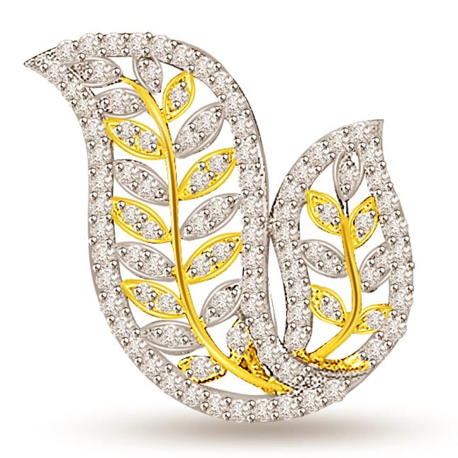 Passionate Leaves -1.00 cts Two Tone Gold Leaves Diamond Pendants