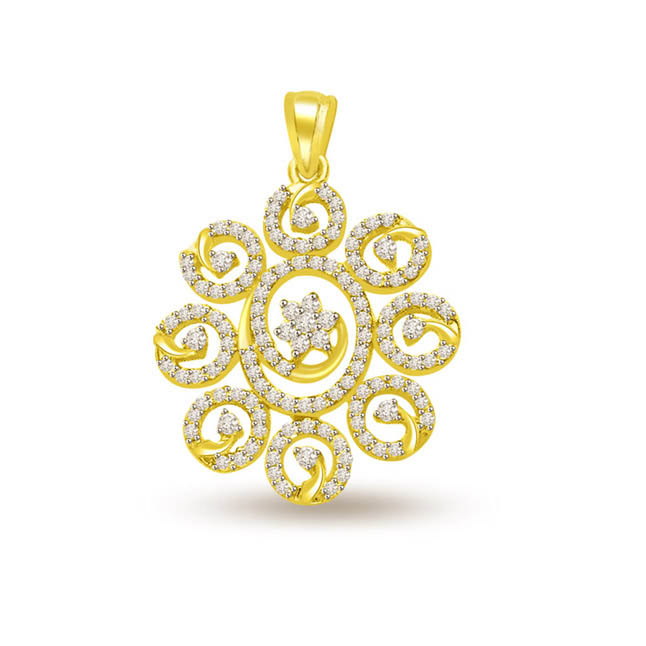 0.60 cts Diamond & Gold Sun Flower Pendants -Flower Shape Pendants