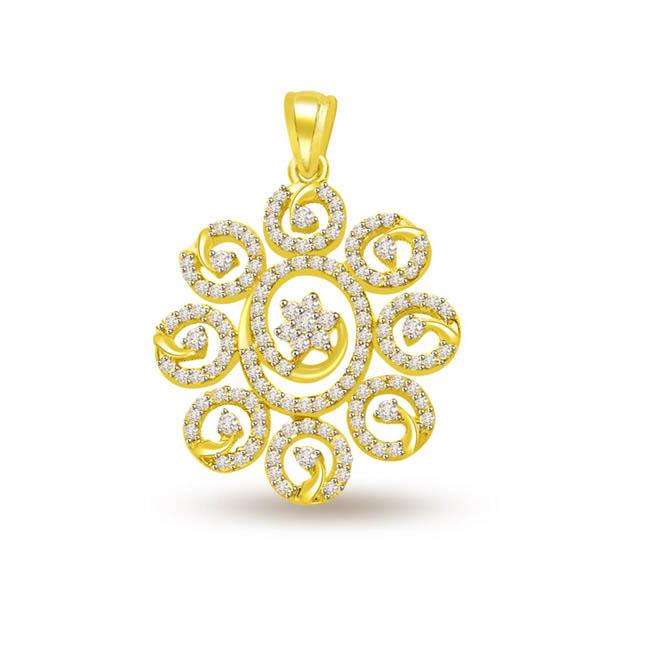0.60 cts Diamond & Gold Sun Flower Pendants -Flower Shape Pendants