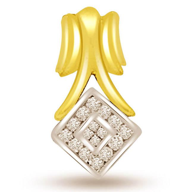 Geometric Shape Two Tone Diamond Pendants