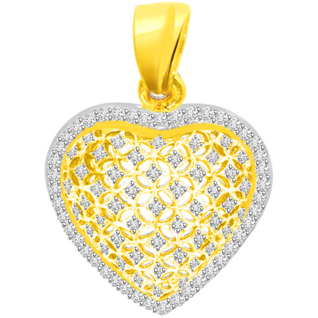0.45 cts Heart Shape Diamond 18K Gold Pendants