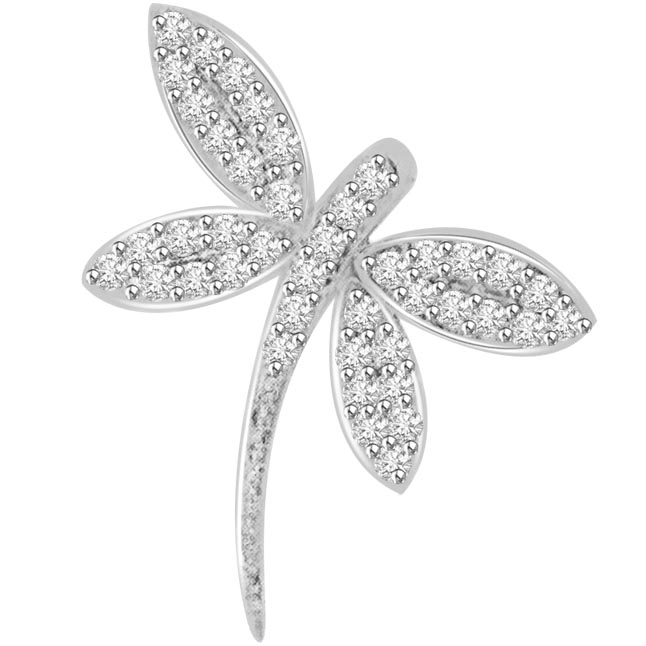 0.42 cts Diamond 14K Butterfly Pendants -Designer Pendants