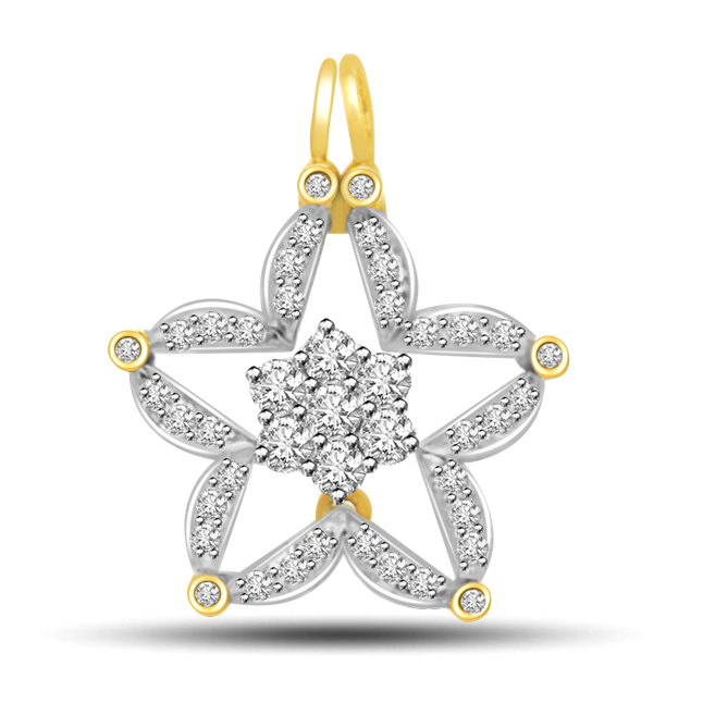 0.32ct You Are My Star Diamond & 18kt Gold Pendants For Your Love -Designer Pendants