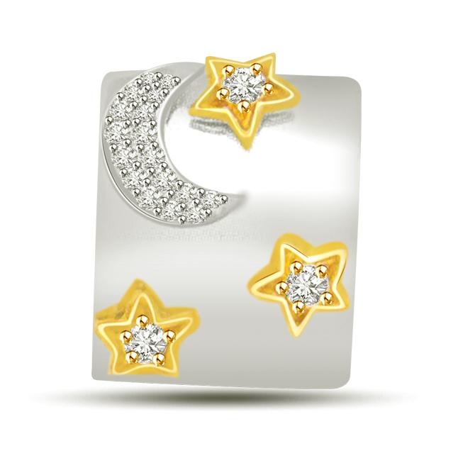 Moon & Shining Stars Two Tone Diamond & 18kt Gold Pendants -Designer Pendants