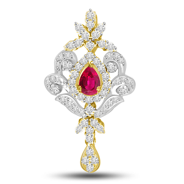 Circle Of Ruby Love : Diamond & Ruby Gold Pendants -Designer Pendants